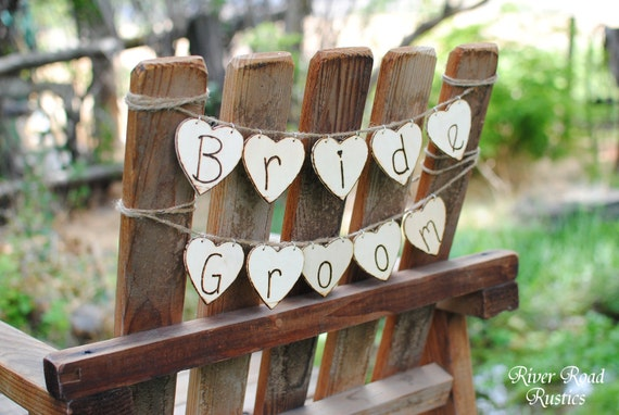Wedding Bride & Groom Wood Heart Banners - Chair Signs or Photo Props. Ready to Ship.