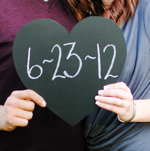 """Extra Large Chalk Board Heart Sign  - 11.5 """" (Ready to Ship)- Photography Prop or Decoration"""