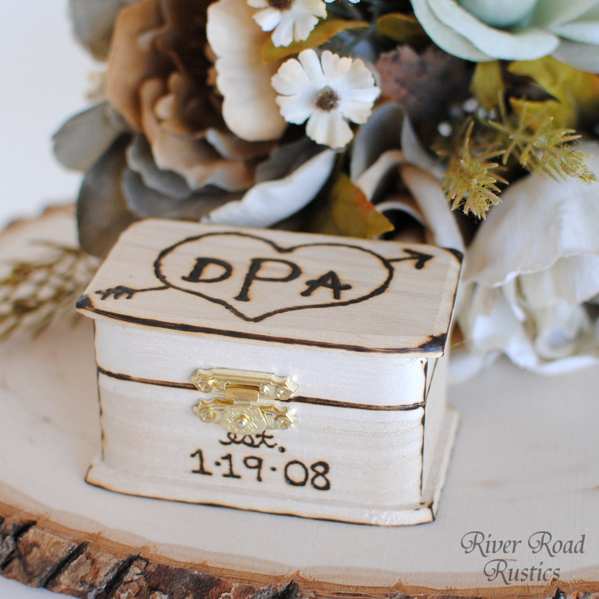 rustic wedding ring box keepsake or ring bearer box