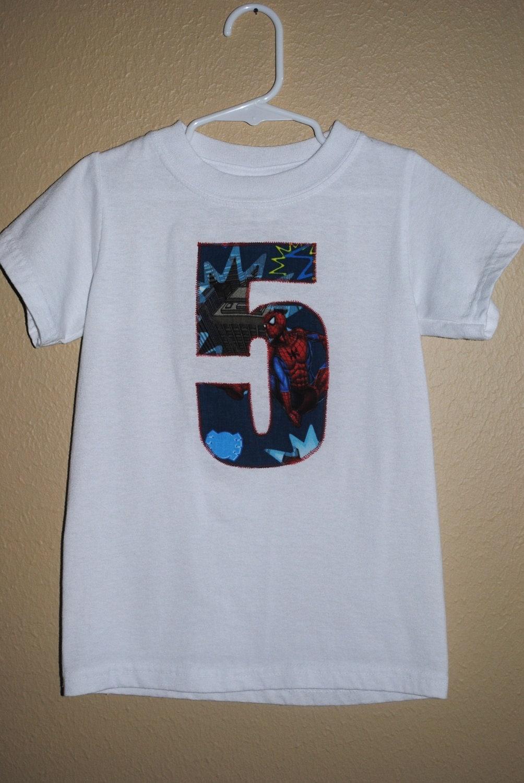 Spiderman Applique Boys White Shirt 5th Birthday Ready To