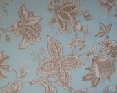 Chocolate flowers on Aqua blue - Braemore Oriel - 2 yards