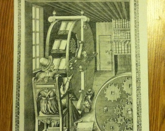 Vintage Printing Press 'Artificial Machine' Poster