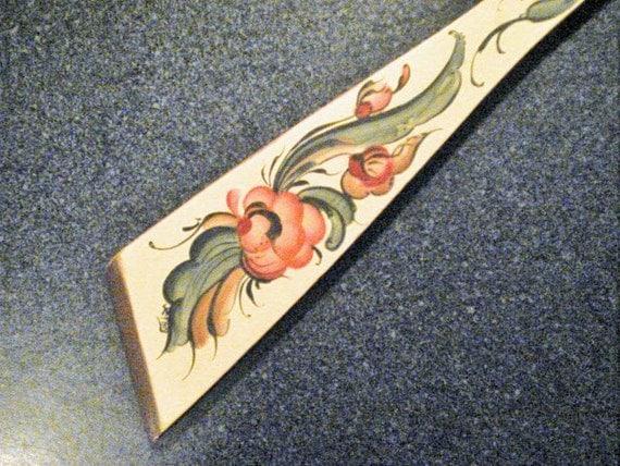 Wooden Spatula - Rosemaled decoration