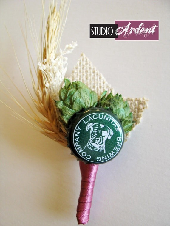 Reserved for Heather Wade heather7898 CROWN Hops, Wheat, Beer Cap and burlap Boutonniere