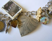 Mexican Folk Art and Milagros Theme Sterling Silver Charm Bracelet