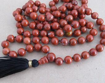 Mala - Hand knotted 8mm red jasper 108 beads buddhist mala - yoga - hipie necklace