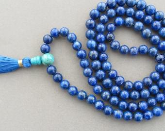 8mm Lapis lazuli mala - 108 beads buddhist mala - mala necklace - wrap mala bracelet