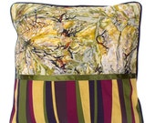 Contemporary pillow cover in gold, red, brown and green abstract splatter pattern 18 inches
