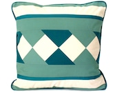 Decorative pillow cover in teal and natural cotton with geometric pattern 18 inches