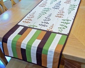Quilted table runner or wall hanging, leafs and geometric pattern in chocolate brown, green and rust gold cotton