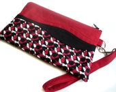 Quilted wristlet in black, white and red abstract geometric cotton with zipper closure Valentine's Day Gift