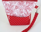 Quilted wristlet in red and white paisley floral with zipper closure Valentine's day gift