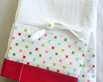 Kitchen towels red and green cotton fabric accent - set of two flour sack towels - Christmas