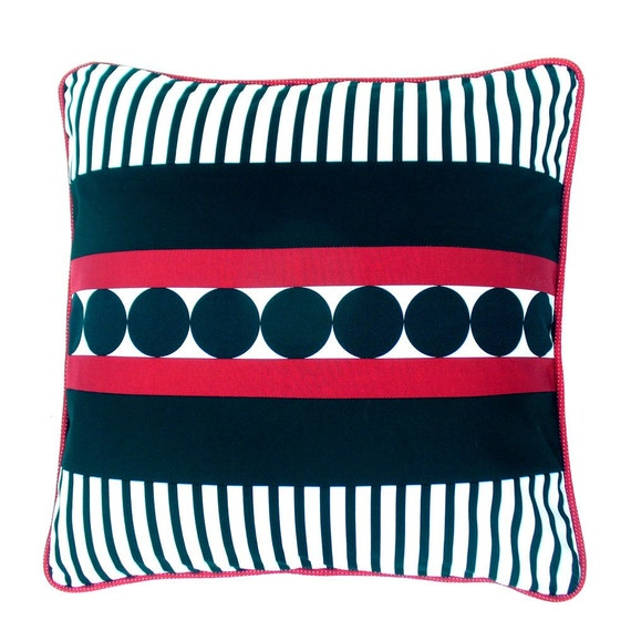 Contemporary decorative pillow cover in red, black and white cotton geometric pattern 18 inches