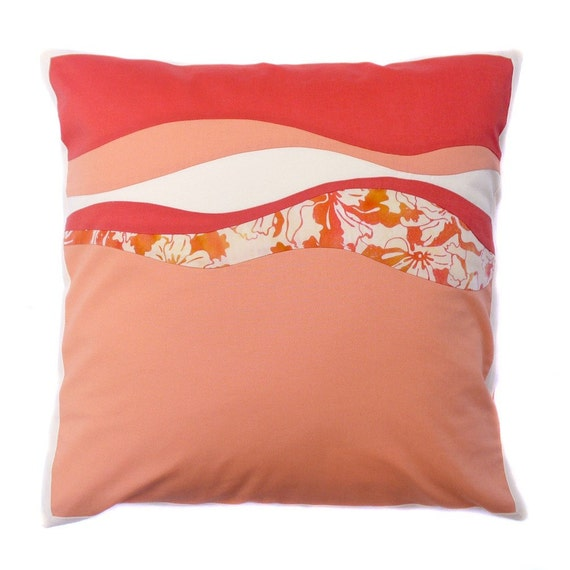 Modern Pillows Etsy : Items similar to Contemporary decorative pillow cover in tropical citrus melon orange cotton ...