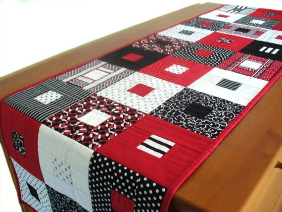 Quilted Contemporary Geometric Table Runner By