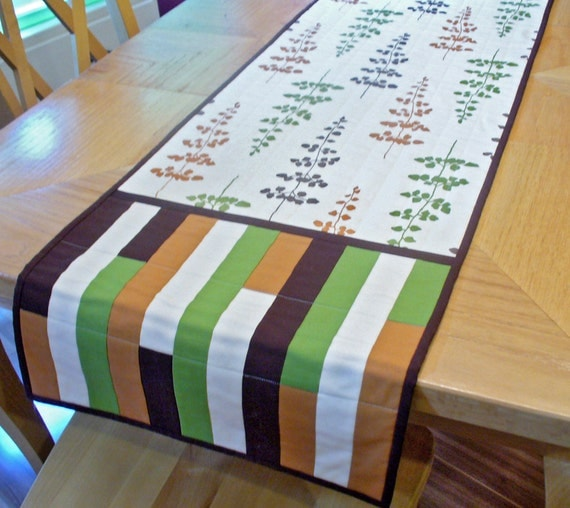 Quilted table runner or wall hanging, fall leafs and geometric pattern in chocolate brown, green and rust gold cotton