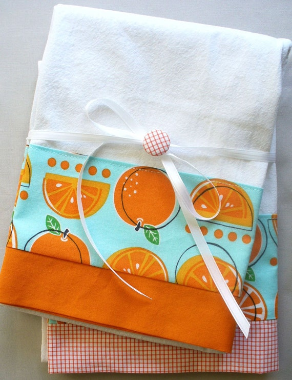 Kitchen towels with orange fruit on aqua background cotton fabric accent - set of two flour sack towels