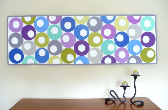 Modern circle art quilt wall hanging or table runner cotton fabric