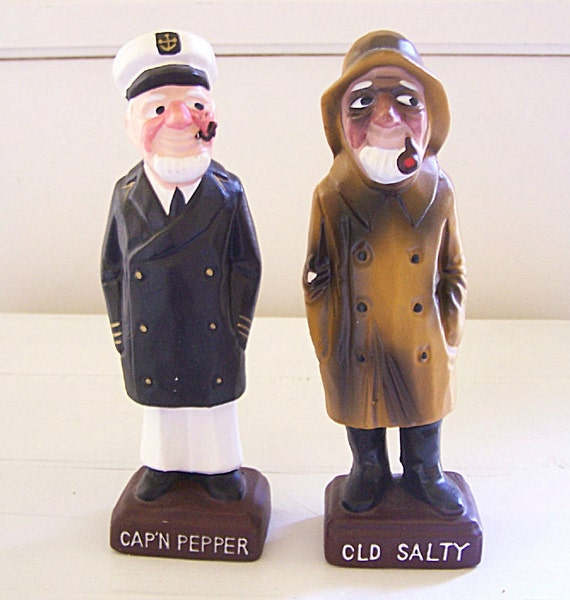 Vintage Cap N Pepper And Old Salty Salt And Pepper Shakers