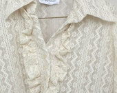 Vintage White Lace Long Sleeve Blouse