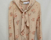 Vintage Silk Peach Ascot Floral Dolly Blouse