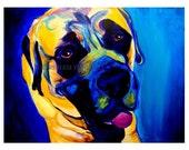 Mastiff, Pet Portrait, DawgArt, Dog Art, Pet Portrait Artist, Colorful Pet Portrait, Mastiff Art, Pet Portrait Painting, Art Prints