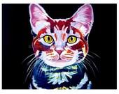Tabby Cat, Pet Portrait, DawgArt, Cat Art, Pet Portrait Artist, Colorful Pet Portrait, Tabby Cat Art, Pet Portrait Painting, Art Prints