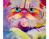 Persian Cat, Pet Portrait, DawgArt, Dog Art, Pet Portrait Artist, Colorful Pet Portrait, Cat Art, Pet Portrait Painting, Art Prints