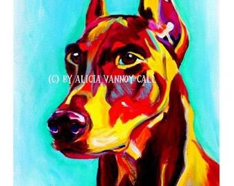 Doberman Pinscher, Pet Portrait, DawgArt, Dog Art, Pet Portrait Artist, Colorful Pet Portrait, Doberman Art, Doberman, Art Prints