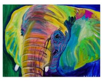 Elephant, DawgArt, Zoo Animal, Elephant Art, Zoo Animal Art, Zoo Animal Painting, Elephant Painting, Colorful Elephant Painting, Art Prints