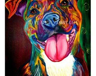 Pit Bull Art, Pet portrait, Colorful Pit Bull, DawgArt, Pit Bull Painting, Dog Art, Pet portrait artist, pet portrait painting, art prints