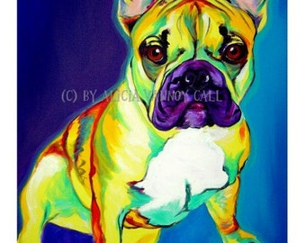 French Bulldog Art, Frenchie Art, Colorful Frenchie, Pet Portrait, DawgArt, Dog Art, Pet Portrait Artist, Colorful Pet Portrait, Art Prints