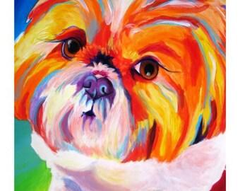 Shih Tzu, Pet Portrait, DawgArt, Dog Art, Shih Tzu Art, Pet Portrait Artist, Colorful Pet Portrait, Pet Portrait Painting, Art Prints, Art