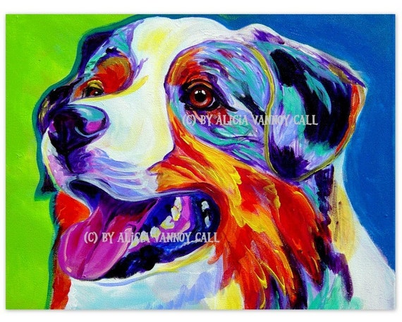 Australian Shepherd, Pet Portrait, DawgArt, Dog Art, Dog Painting, Colorful Pet Portrait, Aussie Art, Pet Portrait Painting, Art Prints