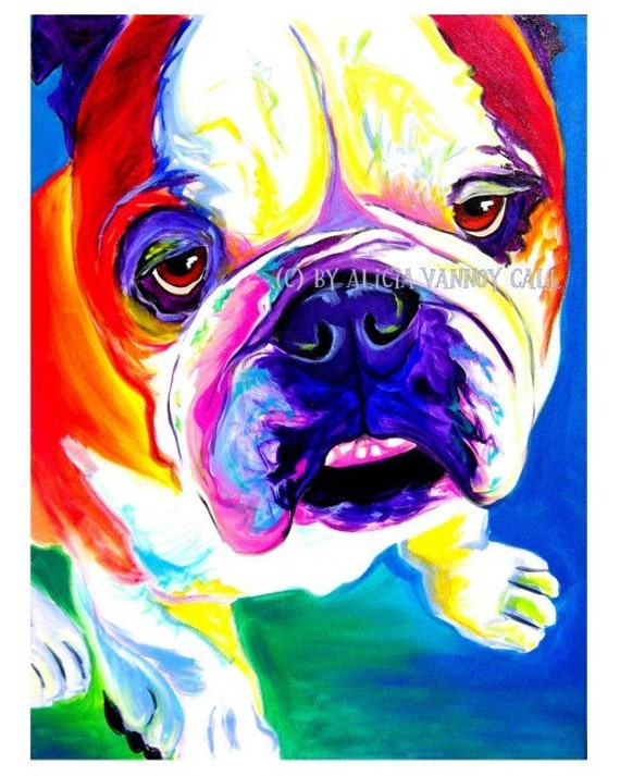Bulldog, Pet Portrait, DawgArt, Dog Art, Bulldog Art, Pet Portrait Artist, Pet Portrait Painting, Colorful Pet Portrait, Art Prints