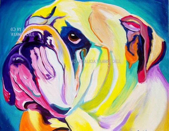 Bulldog, Pet Portrait, DawgArt, Dog Art, Art Prints, Colorful pet portrait, pet portrait artist, pet portrait painting
