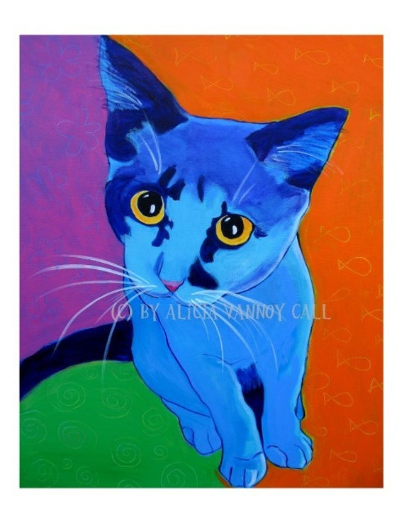 Cat, Pet Portrait, DawgArt, Cat Art, Pet Portrait Artist, Colorful Pet Portrait, Kitten Art, Pet Portrait Painting, Art Prints