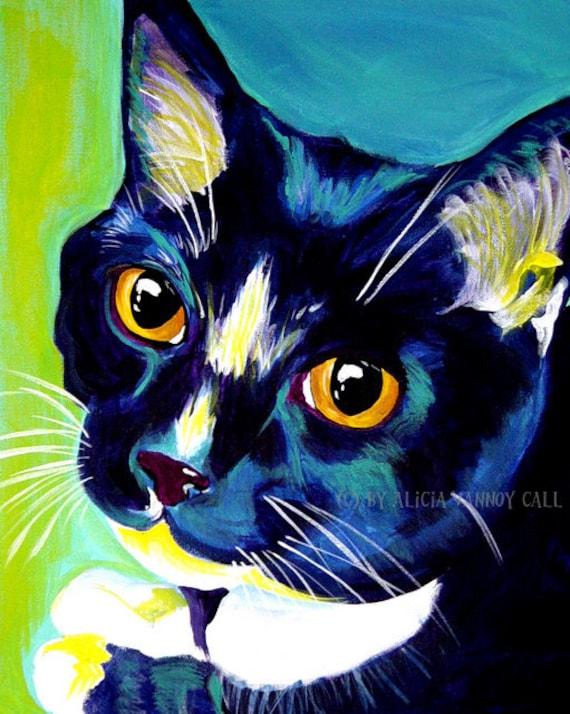 Tuxedo Cat, Pet Portrait, DawgArt, Cat Art, Pet Portrait Artist, Colorful Pet Portrait, Tuxedo Cat Art, Pet Portrait Painting, Art Prints