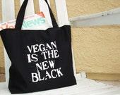 Black Vegan Tote Bag (Reversible) - Vegan is the New Black