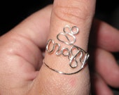 Wire Wrapped CRAZY Spelled Adjustable Silver Ring