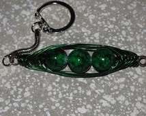 Wire Wrapped Peas In A Pod Keychain MADE to ORDER