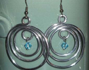 Wire Wrapped Hoop Earrings MADE to ORDER With Your Color Birthstone
