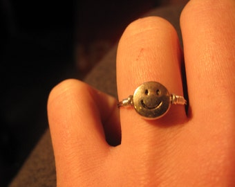 MADE TO ORDER Wire Wrapped Smiley Face Ring