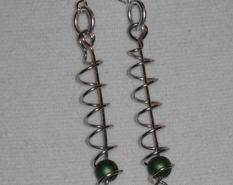 Wire Wrapped Coil Earrings With Green Beads MADE to ORDER