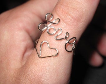 Wire Wrapped Love Adjustable Ring MADE to ORDER