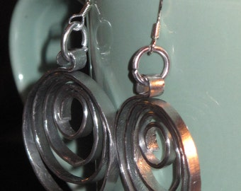 Wire Wrapped Flat Silver Color Hoop Earrings MADE to ORDER