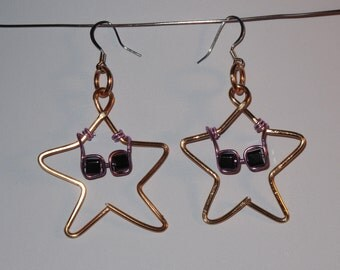 Wire Wrapped Stars Wearing Sunglasses MADE to ORDER Earrings