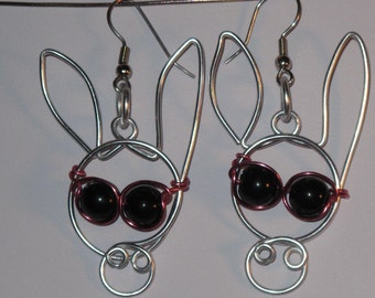 Wire Wrapped Donkey Head Earrings Wearing Sunglasses MADE to ORDER