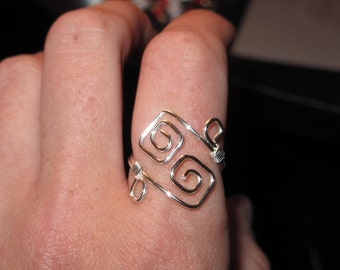Wire Wrapped All Silver Color Adjustable Square Spiral Ring MADE To ORDER